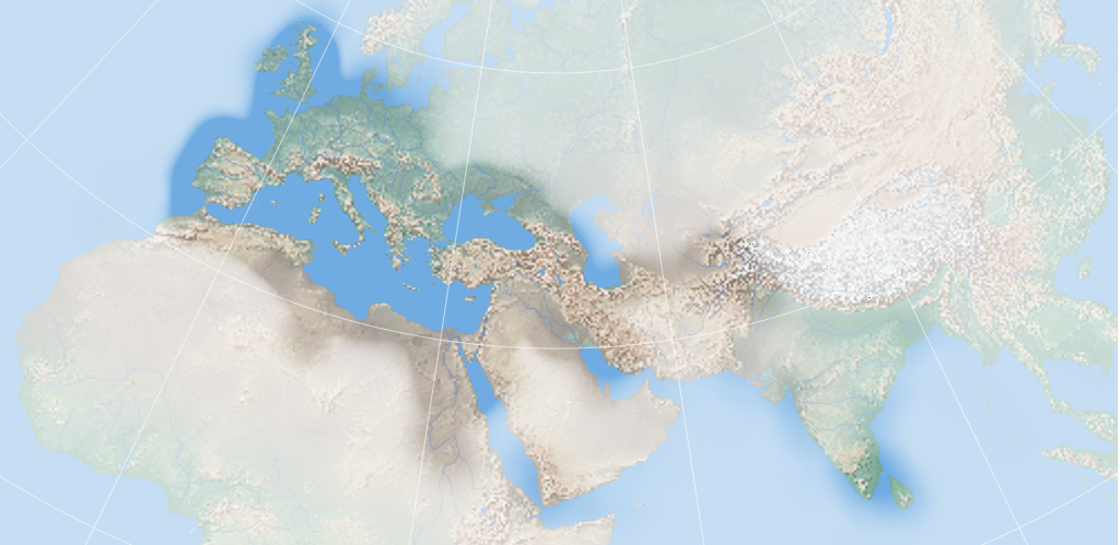 Map of most of Asia, Africa, and Europe. The landscape is rendered in color and shows flat and mountainous areas and major rivers and bodies of water, but much of the map is obscured as if seen through heavy fog; however the landscape is seen clearly in Western Europe, North Africa, The Nile Valley, and Southwest Asia while it is only partially obscured in Central Asia, the Southern Red Sea and Horn of Africa and the Indian Subcontinent.