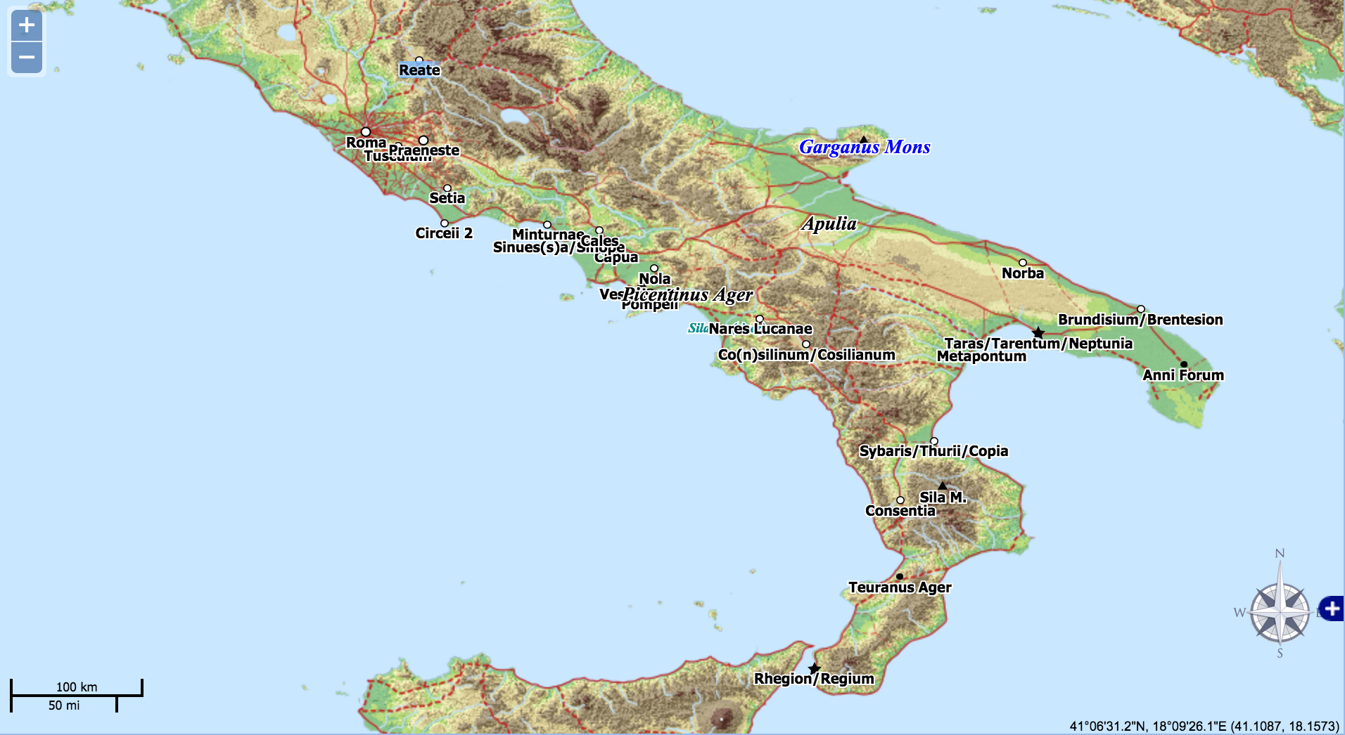 Map Of South Of Italy.Mapping Spartacus Using Pleiades In The Classroom